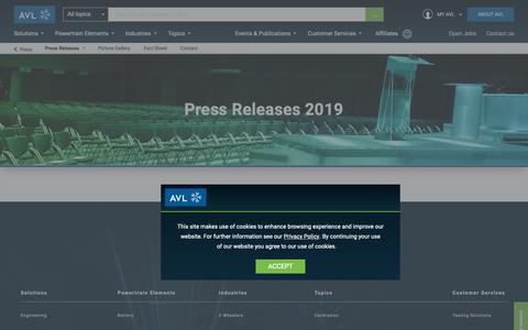 Screenshot of Press Page avl.com - Press Releases 2019 - avl.com - captured Jan. 5, 2019