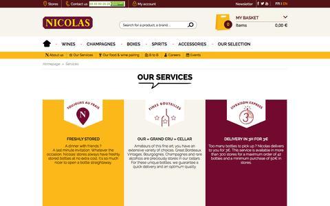 Screenshot of Services Page nicolas.com - Services - Nicolas Wine - captured Nov. 26, 2015