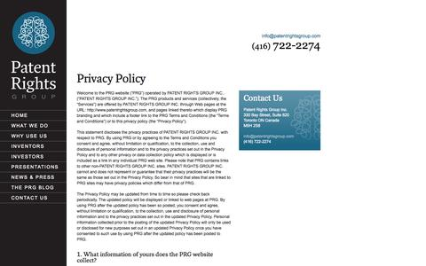 Screenshot of Privacy Page patentrightsgroup.com - Privacy Policy |  Patent Rights Group - Ideas That Make A Difference - captured Sept. 30, 2014