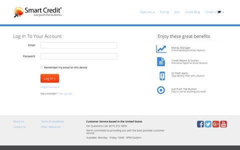 Screenshot of Login Page smartcredit.com - Member Login | Smart Credit - captured July 5, 2017
