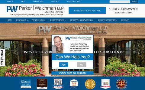 Screenshot of Home Page yourlawyer.com - Parker Waichman LLP - National Personal Injury Law Firm - captured Sept. 26, 2018