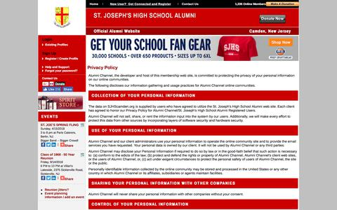 Screenshot of Privacy Page sjhscamden.org - St. Joseph's High School Alumni - Privacy Policy - captured Dec. 28, 2017