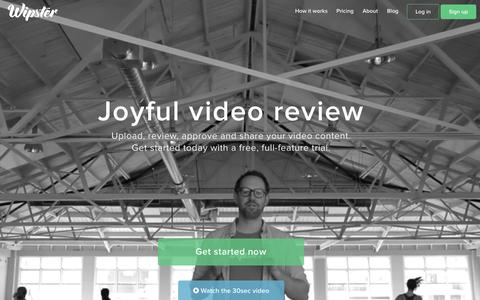 Screenshot of Home Page wipster.io - Wipster | Video Review and Approval - Free - captured July 3, 2015