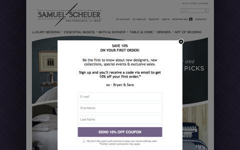 Screenshot of Home Page scheuerlinens.com - Luxury Bedding, Home Décor & Bath Products - Samuel Scheuer - captured Feb. 4, 2016
