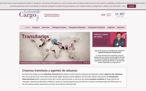 Screenshot of Home Page eurobooking-cargo.com - Transitaria - Transporte internacional / Eurobooking Cargo - captured July 22, 2018