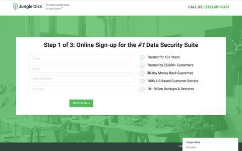 Screenshot of Signup Page jungledisk.com - Jungle Sales says… - captured May 12, 2018