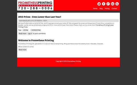 Screenshot of Home Page prometheusprinting.com - Prometheus Printing | Lowest Screenprinting Prices in Boulder, Guaranteed! - captured Oct. 3, 2014