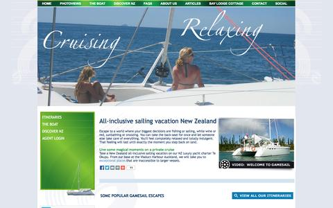 Screenshot of Home Page gamesail.co.nz - Home, Gamesail - NZ luxury yacht charter, all inclusive sailing vacation New Zealand, NZ diving, private charter yacht, gamefishing, sport-fishing - captured Oct. 2, 2014