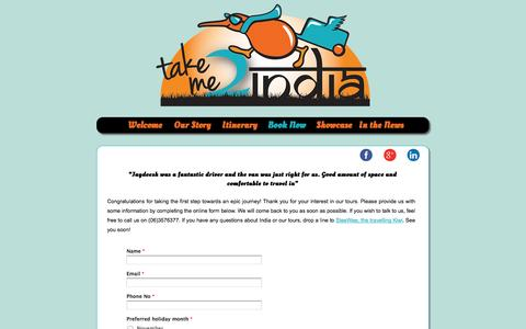 Screenshot of Contact Page takeme2india.co.nz - Takeme2India | Holiday package tours with authentic experience in South India | Himalaya tours - captured Oct. 1, 2014