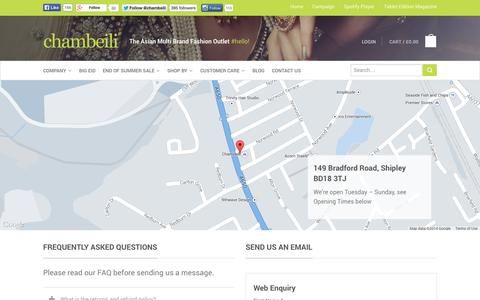 Screenshot of Contact Page chambeili.com - Contact us | chambeili® - captured Sept. 30, 2014