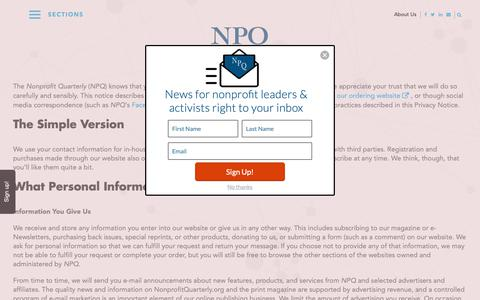 Screenshot of Privacy Page nonprofitquarterly.org - Privacy Policy - Non Profit News | Nonprofit Quarterly - captured May 29, 2019