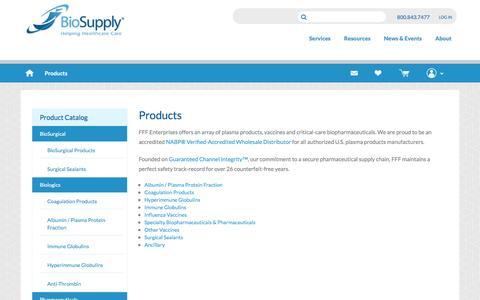 Screenshot of Products Page fffenterprises.com - FFF BioSupply - captured Jan. 8, 2016
