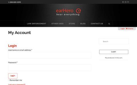 Screenshot of Login Page earhero.com - My Account – Ear Hero - captured May 24, 2017
