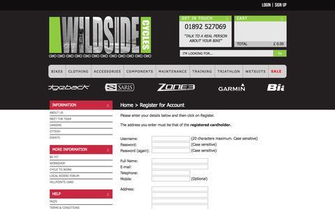 Screenshot of Signup Page wildside-online.co.uk - Register for Account - Wildside Cycles, Tunbridge Wells, Kent - captured Oct. 26, 2014