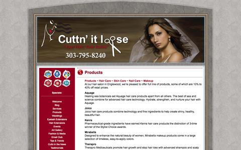 Screenshot of Products Page cuttnitloose.com - Hair Salon Englewood CO | Englewood CO Hair Salon | Hair Care Products | Skin Care - captured Sept. 30, 2014