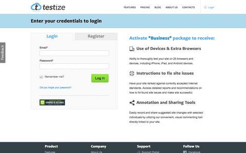 Screenshot of Login Page testize.com - Login to Testize - Cross-Browser Web testing for Desktops, Mobiles and Tablets - captured Aug. 13, 2016