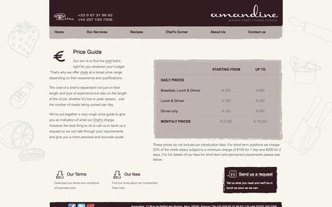 Screenshot of Terms Page amandinecuisine.com - Price Guide  | Amandine - captured Oct. 4, 2014