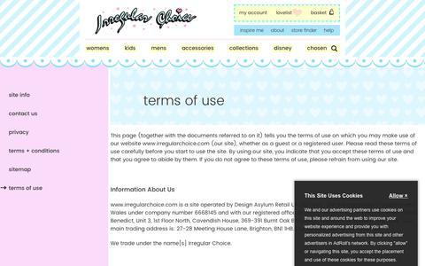 Screenshot of Terms Page irregularchoice.com - Terms of Use | Irregular Choice - captured Sept. 20, 2018