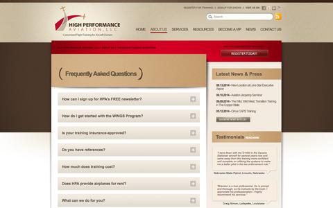 Screenshot of FAQ Page flyhpa.com - Frequently Asked Questions // High Performance Aviation, LLC - captured Oct. 3, 2014