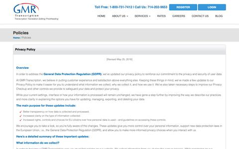 Screenshot of Privacy Page gmrtranscription.com - GMR Transcription Privacy Policy - captured June 22, 2019
