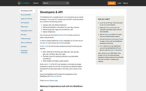 Screenshot of Developers Page slideshare.net - SlideShare » Developer & API - captured Oct. 10, 2014