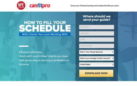 Screenshot of Landing Page npecoaching.com - How to Fill Your Schedule - captured May 6, 2018