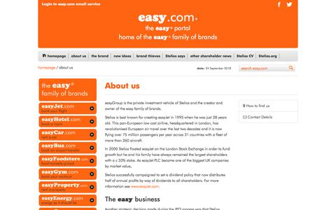 Screenshot of About Page easy.com - About Us - captured Sept. 24, 2018