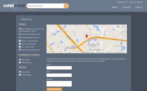 Screenshot of Contact Page superstock.com captured Nov. 3, 2014