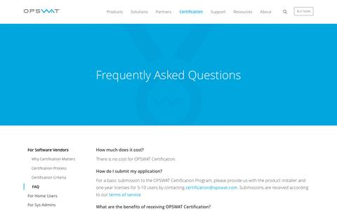Screenshot of FAQ Page opswat.com - Frequently Asked Questions | OPSWAT - captured Jan. 14, 2016