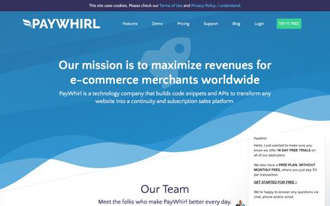 Screenshot of Team Page paywhirl.com - Our Team - Recurring Payments and Subscriptions - PayWhirl - captured July 25, 2018