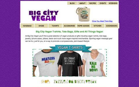 Screenshot of Home Page bigcityvegan.com - Vegan T-shirts, Vegan Shoes, Cruelty-Free Products, Vegan Recipes - captured Sept. 19, 2014