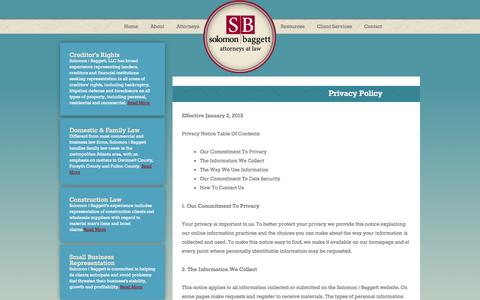 Screenshot of Privacy Page sb-law.com - Privacy Policy | Solomon Baggett - captured Oct. 26, 2014