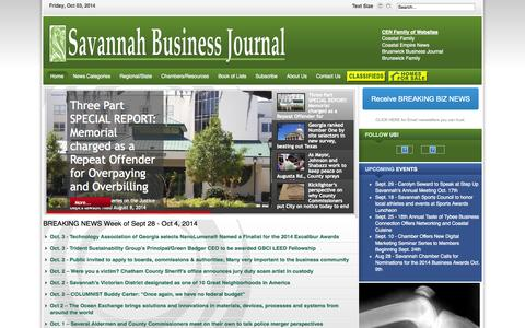 Screenshot of Home Page About Page Privacy Page Maps & Directions Page savannahbusinessjournal.com - Savannah Business Journal - Savannah Business Journal - captured Oct. 3, 2014