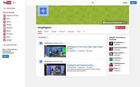 Screenshot of YouTube Page youtube.com - shopOrganic  - YouTube - captured Oct. 26, 2014