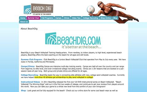 Screenshot of About Page beachdig.com - About BeachDig | Beach Dig - captured Oct. 5, 2014
