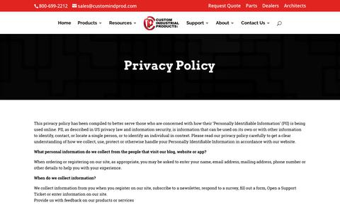 Screenshot of Privacy Page customindprod.com - Privacy Policy | Custom Industrial Products - captured March 2, 2018