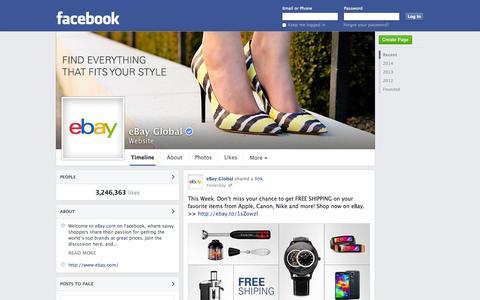 Screenshot of Facebook Page facebook.com - eBay Global | Facebook - captured Oct. 28, 2014