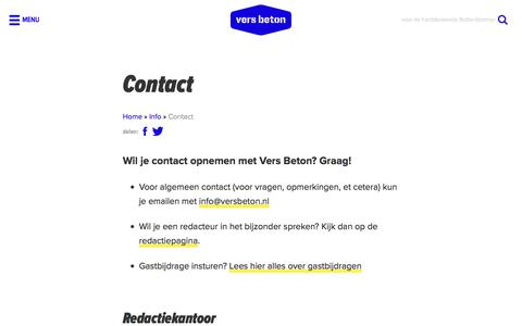Screenshot of Contact Page versbeton.nl - Contact - captured Aug. 18, 2016