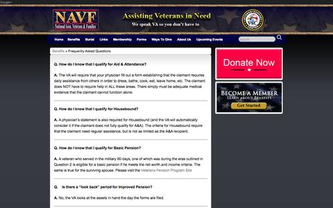 Screenshot of FAQ Page nasv.org - Frequently Asked Questions » National Association Veterans & Families - captured Oct. 27, 2014