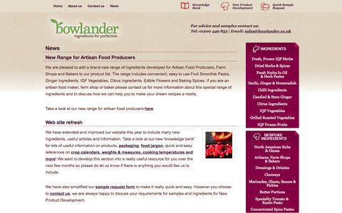 Screenshot of Press Page bowlander.co.uk - Bowlander - ingredients for food manufacturers in the UK and Ireland. Bespoke and blended ingredients for new product development, NPD, in the food processing industries. Contact us. - captured Oct. 27, 2014