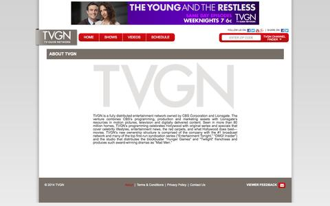 Screenshot of About Page tvgn.tv - TV Guide Network - TVGN.tv - captured Oct. 31, 2014