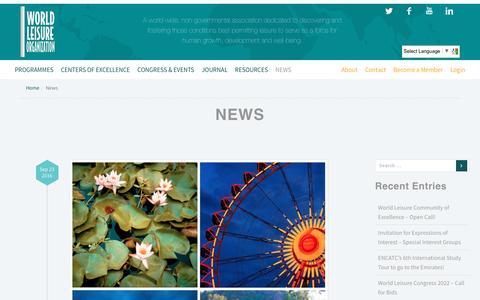 Screenshot of Press Page worldleisure.org - News – world leisure - captured Dec. 13, 2016