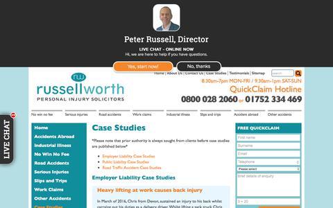 Screenshot of Case Studies Page russellworthsolicitors.co.uk - Russell Worth Solicitors Case Studies - Russell Worth Solicitors - captured Sept. 21, 2018