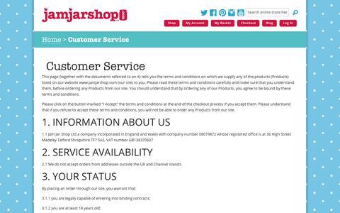 Screenshot of Support Page jamjarshop.com - Customer Service | Jam Jar Shop - captured Oct. 19, 2018