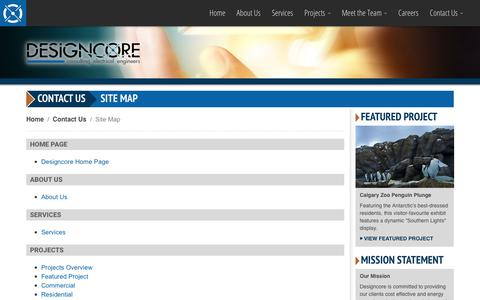 Screenshot of Site Map Page designcore.ca - Designcore Engineering Ltd. - Contact Us: Site Map - captured Oct. 12, 2017