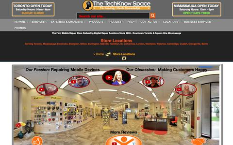 Screenshot of Locations Page techknowspace.com - Store Locations - captured Oct. 20, 2018