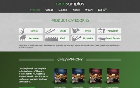 Screenshot of Products Page cinesamples.com - Cinesamples :: Products - captured Sept. 19, 2014