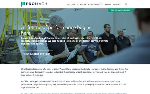 Screenshot of Jobs Page promachbuilt.com - Careers - Pro Mach Built - captured Dec. 16, 2018