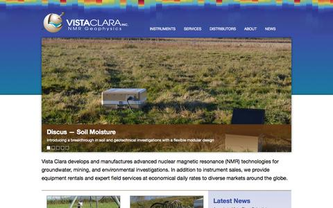 Screenshot of Home Page vista-clara.com - Vista Clara Inc. | NMR Groundwater Geophysics - captured Sept. 30, 2014