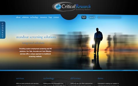 Screenshot of Home Page criticalresearch.com - Critical Research: Job applicant integrated information and employment screening services, human resource background checks - captured June 18, 2015
